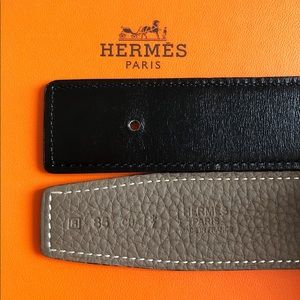 Hermès 32mm reversible leather strap (NO buckle)
